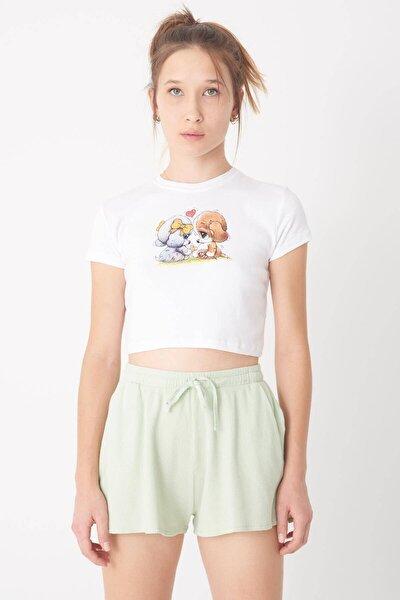 Kadın Beyaz Baskılı Kısa T-Shirt P0982 - J8 Adx-0000022463