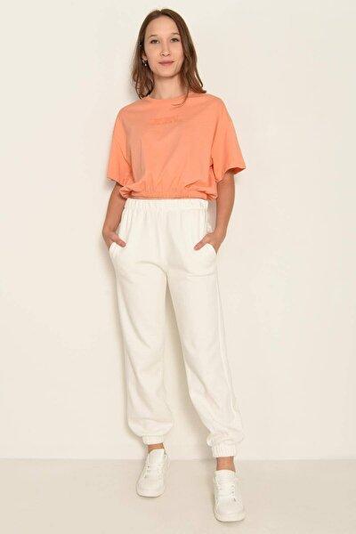 Kadın Pigment Oranj Yazı Detaylı T-Shirt P0959 - Dk8 Adx-0000022395