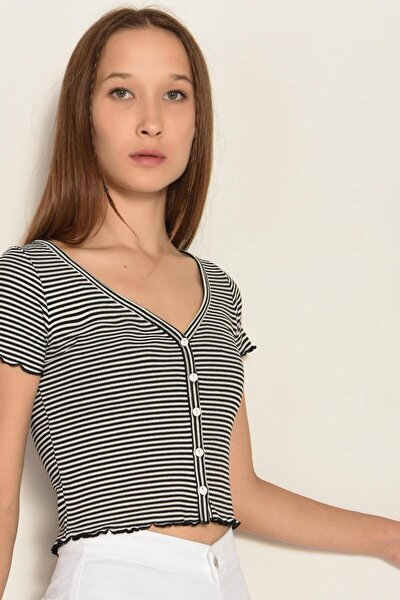 Kadın Siyah Çizgili T-Shirt Çiz P1014 - F1 Adx-0000022608