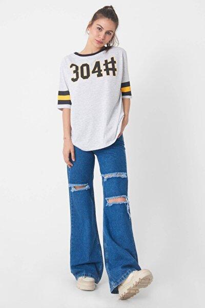 Kadın Kar Melanj Baskılı T-Shirt P1028 - K11 Adx-0000022709