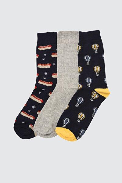 Çok Renkli Erkek 3'lü Paket Soket Çorap TMNSS21CO0070