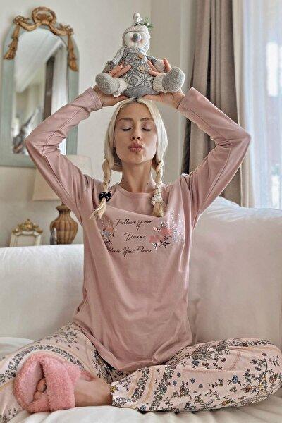 Believe Flower Baskılı Uzun Kol Kadın Pijama Takımı