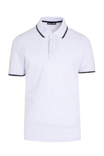 Beyaz Baskılı Polo Yaka Tişört