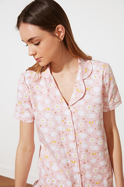 Pudra Kuzu Desenli Örme Pijama Takımı THMSS21PT0138