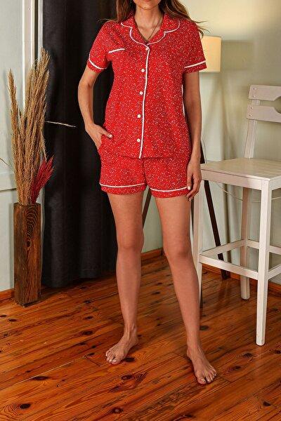 Kırmızı Kadın Şortlu Pijama Takımı Kısa Kollu Düğmeli Cepli Pamuk