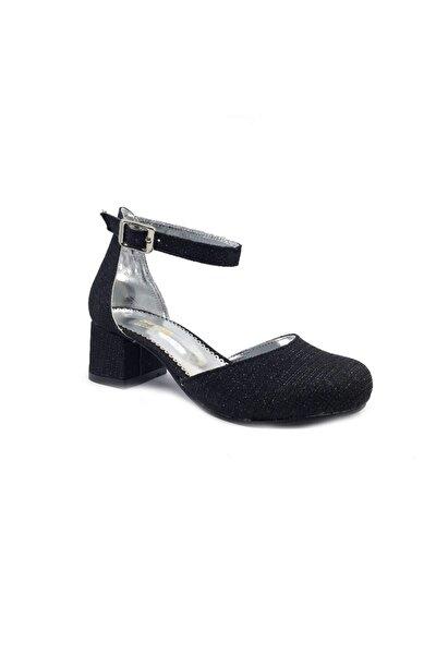 Kız Çocuk Siyah Simli Topuklu Abiye Ayakkabı