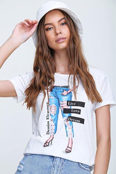 Kadın Beyaz Bisiklet Yaka Baskılı T-Shirt ALC-X6104