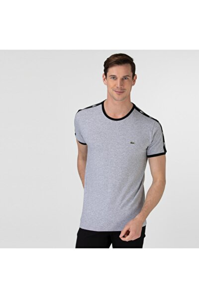 Erkek Bisiklet Yaka Baskılı Gri T-Shirt TH0146