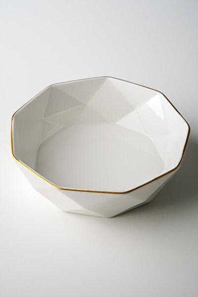 Diamond Gold Şeritli Beyaz Porselen Kase - 20,3 Cm