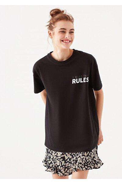 Kadın Rules Baskılı Siyah  T-Shirt
