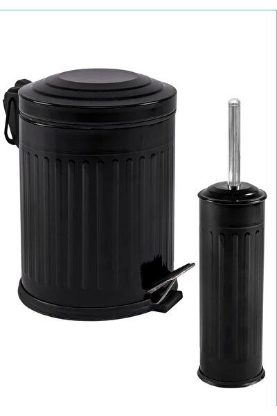 Vintage 2 Li Çöp Kovası Banyo Seti Çizgili Siyah