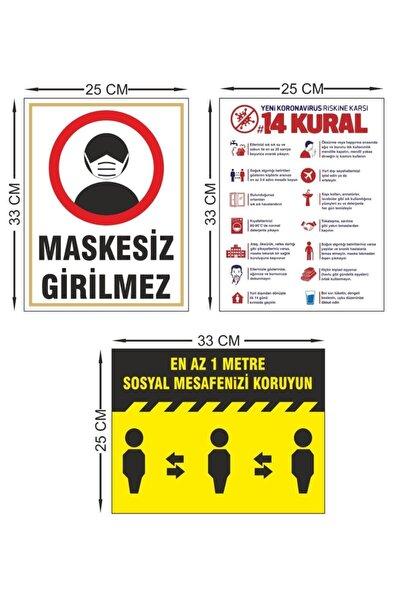Sosyal Mesafe Covid-korona Uyarı Etiketi Seti 3lü