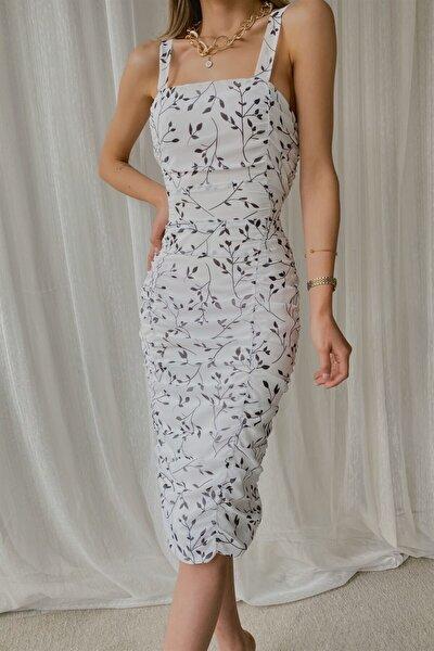 Kadın Beyaz Büzgü Detay Şifon Elbise