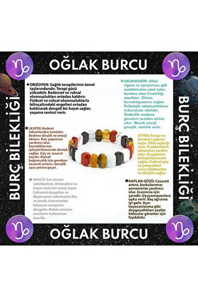 Oğlak Burcu Rolex Bileklik Obsidyen-akuamarin-jasper-sitrin-havlit-kaplan Gözü