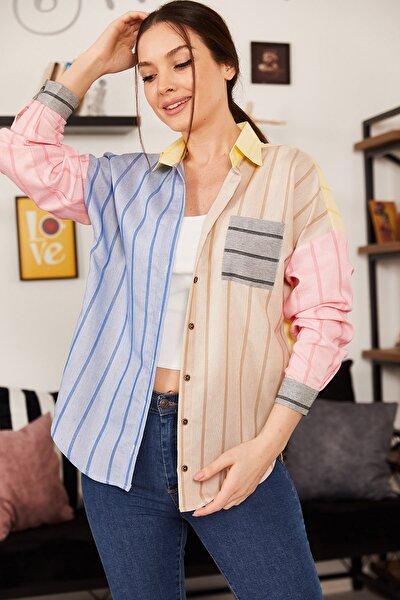 Kadın Sari Bloklu Çizgili Salaş Gömlek ARM-21K001189