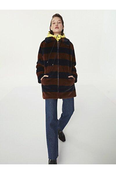 Kadın Kahverengi Kapüşonlu Suni Kürk Kaban