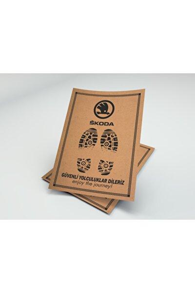 Kağıt Oto Paspas ( Skoda Logo Baskılı - Kraft - 35x50 - 100'lü Paket )