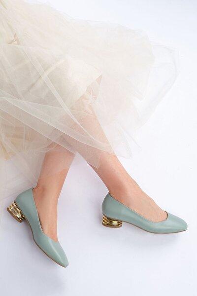 Kadın Yeşil Günlük Klasik Topuklu Ayakkabı Vensil