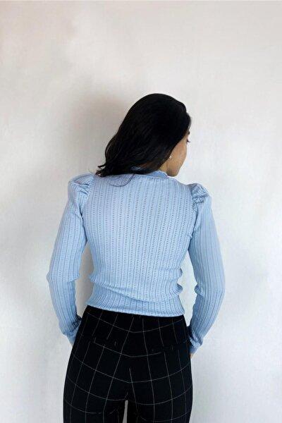 Mavı Merserıze Sık Bluz