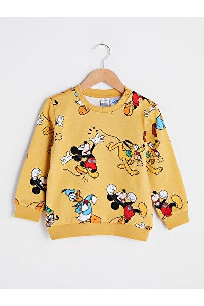 Mickey Mouse Erkek Bebek Sarı Baskılı Lug Sweatshirt