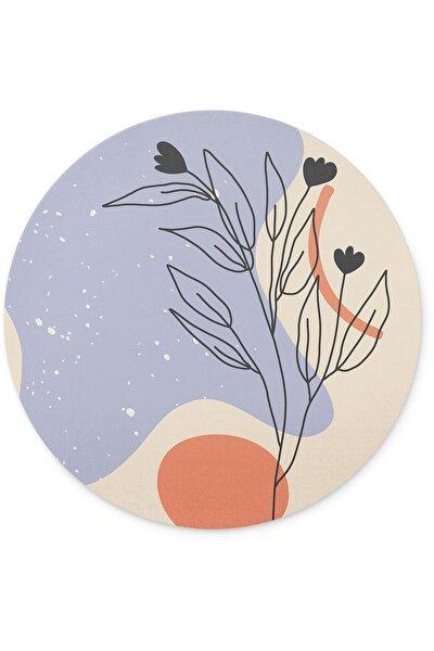 Soyut Çizim Çiçek Yuvarlak Kaymaz Taban Mouse Pad