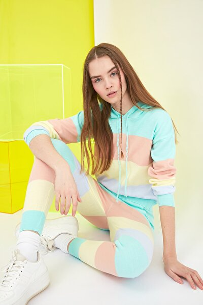 Colorblock Kapüşonlu Kazak Pantolon Triko Alt-Üst Takım TWOSS21AU0010