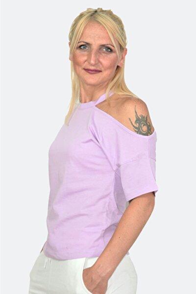 Kadın Omuz Dekolteli Penye T-shirt