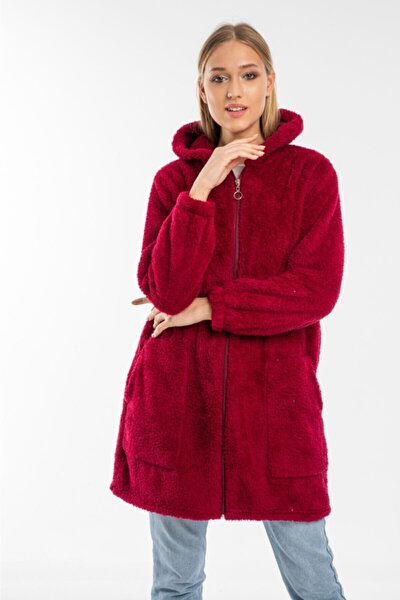Kadın Bordo Uzun Fermuarlı Polar Hırka