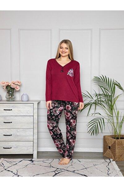 Kadın Uzun Kollu Pijama Takımı Vişne Çürüğü 2890