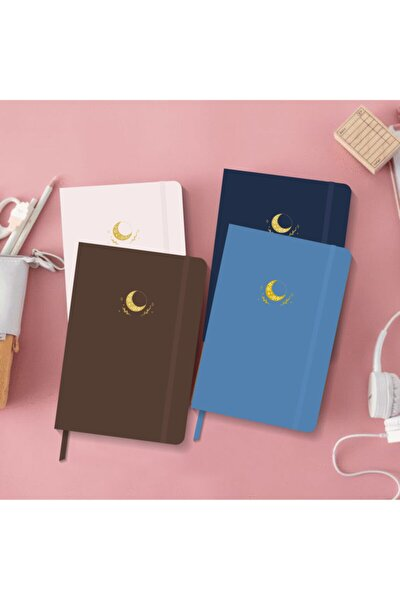 4'lü Defter Seti Noktalı Sert Kapak Defter 13x21 Cm Hardcover Notebook Kahve+pudra+lacivert+mavi