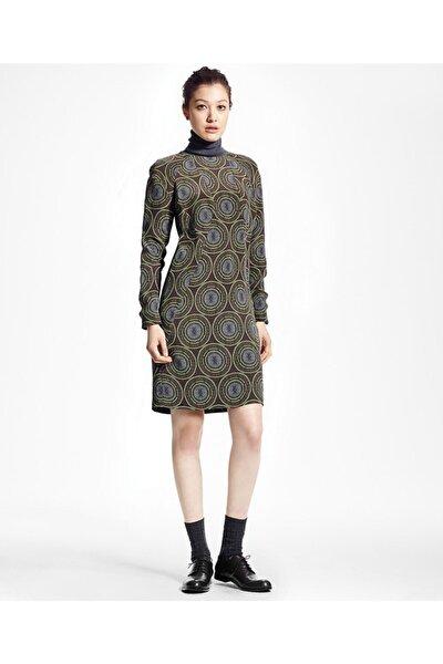 Kadın Gri Geometrik Desenli Balikçi Yaka Uzun Kollu Elbise 1-00069223