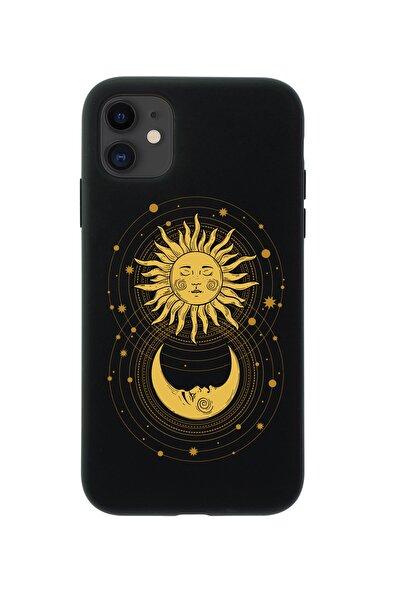 Iphone 11 Uyumlu Moon And Sun Premium Siyah Lansman Silikonlu Kılıf