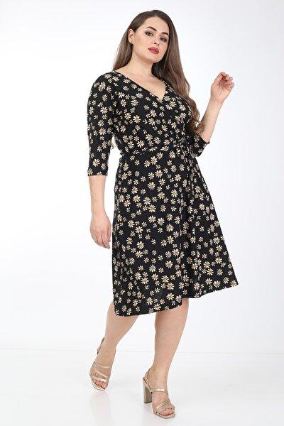 Kadın Papatya Desenli Kruvaze Yaka Büyük Beden Elbise