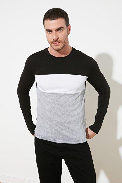 Siyah Erkek Bisiklet Yaka Uzun Kollu Slim Fit T-Shirt TMNSS20TS0044