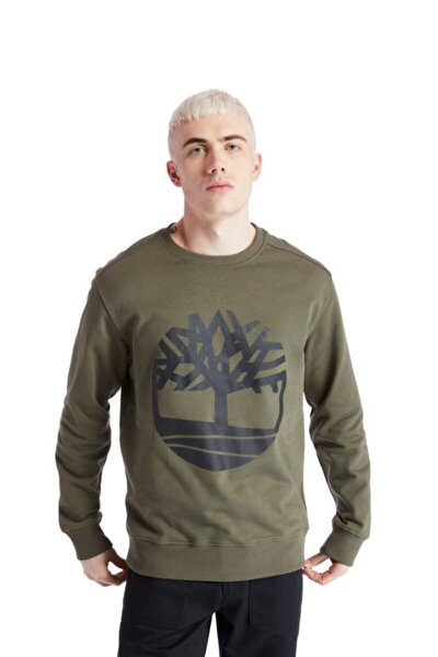 Yc Core Tree Logo Crew Neck Erkek Sweatshirt Haki