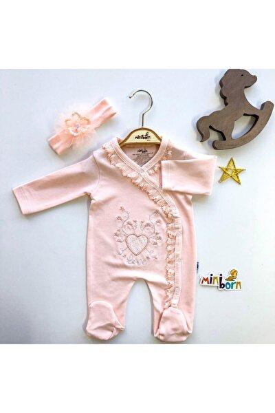Kız Bebek Pudra Yeni Doğan Kalp Nakışlı Tulum