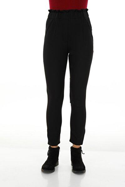 Kadın Siyah Bel Lastikli Sahte Cepli Pantolon