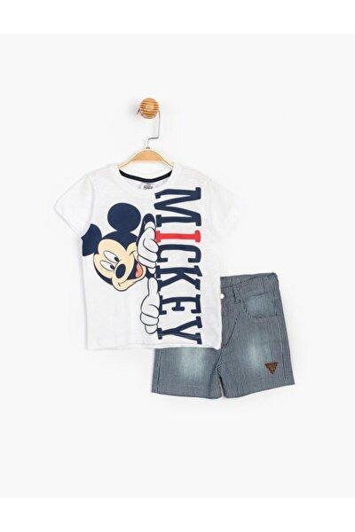Erkek Çocuk Beyaz Mickey Mouse Pamuklu T-shirt ve Taşlanmış Kot Şort Takım