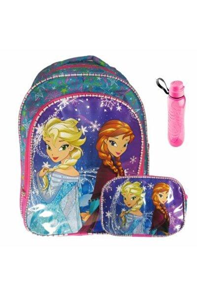 3 Frozen Elsa Anna Okul Çantası - Yıldızlı İlkokul Çantası + Beslenme Çantası + Suluk