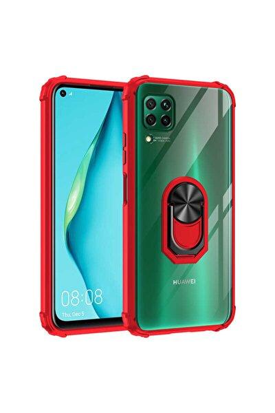 Huawei P40 Lite Kenarları Renkli Anti Şok Şeffaf Yüzüklü Kılıf