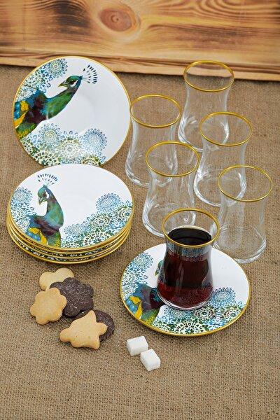 Tavuskuşu Desenli 12 Parça Seramik Çay Bardağı Takımı Seti