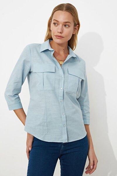 Mavi Çift Cepli Gömlek TWOSS20GO0246