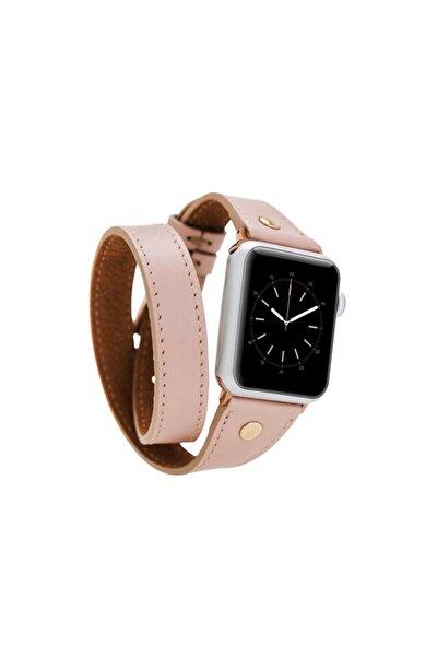 Pembe Apple Watch Uyumlu Deri Kordon 42-44mm Slim Çift Tur Gold Trok Nu1