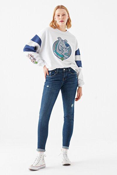 Kadın Ada  Yırtıklı Vintage Jean Pantolon 1020533424
