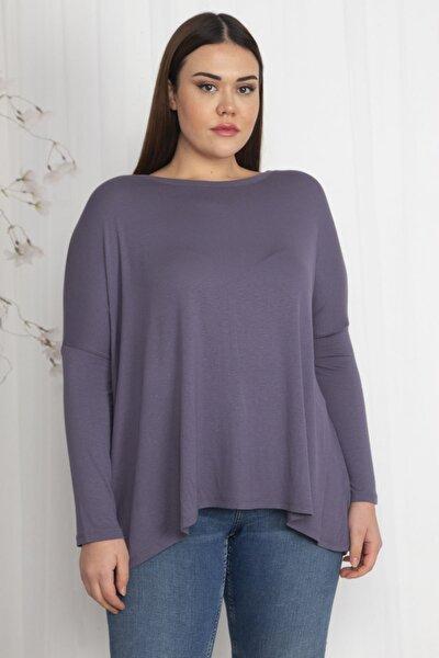 Kadın Gri Rayon Kumaş Oversize Bluz 65N22402