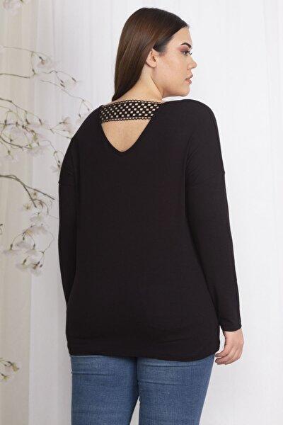 Kadın Siyah Sırt Detaylı Viskon Bluz 65N22359