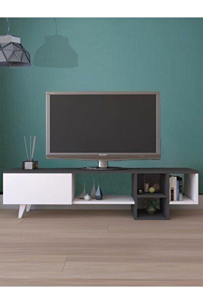 Dekoratif Raflı Tv Ünitesi Televizyon Sehpası Antrasit