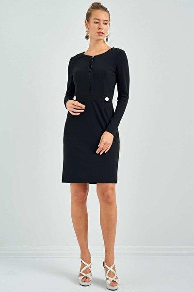 Kadın Siyah Sıfır Yaka Cepli Elbise 20K.EKL.ELB.01007.1