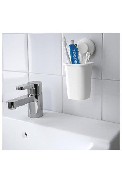 Tisken Vantuzlu Beyaz Plastik  Diş Fırçalık