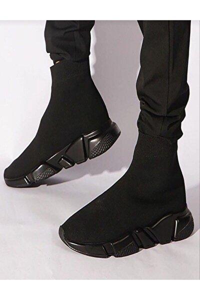 Kadın Siyah Corap Kömür Taban Spor Sneakers
